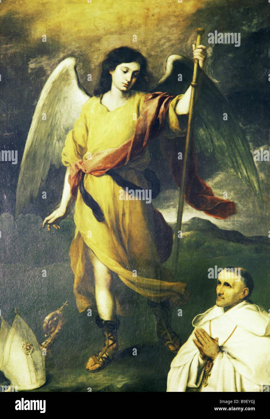Bartolome Esteban Murillo Archangel Raphael and Bishop Domonte Pushkin Museum of Fine Arts Reproduction - Stock Image
