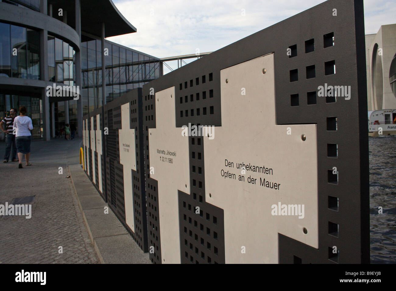 Memorial crosses for people who died at the Berlin Wall, Berlin, Germany Stock Photo