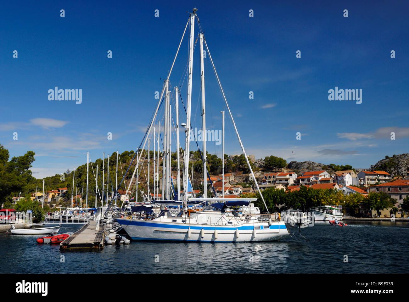 Yachts in marina at Skradin on Dalmatian Coast of Croatia - Stock Image