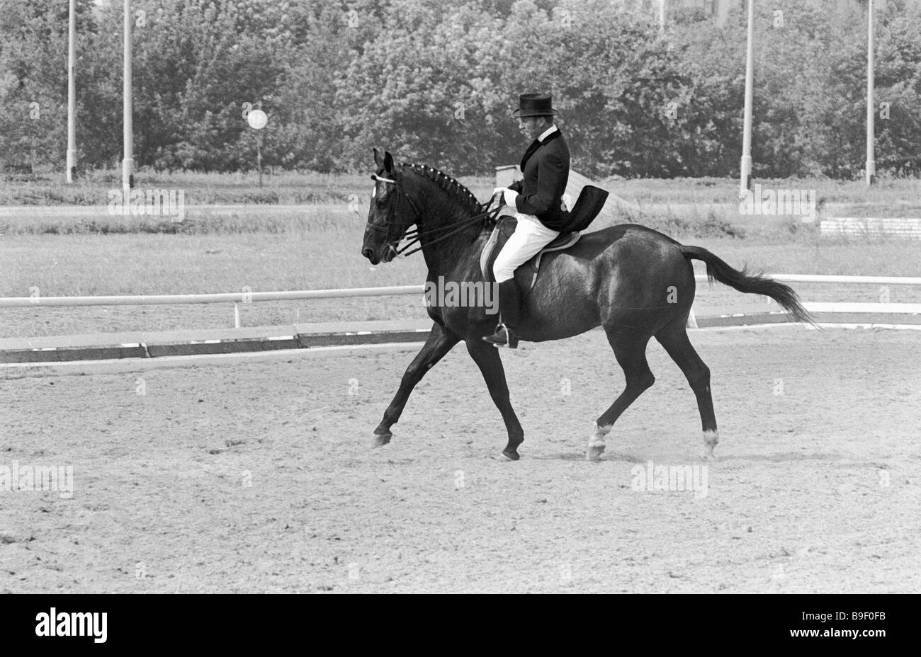 Ivan Kizimov member of the Olympic team riding the horse Ikhor by name - Stock Image