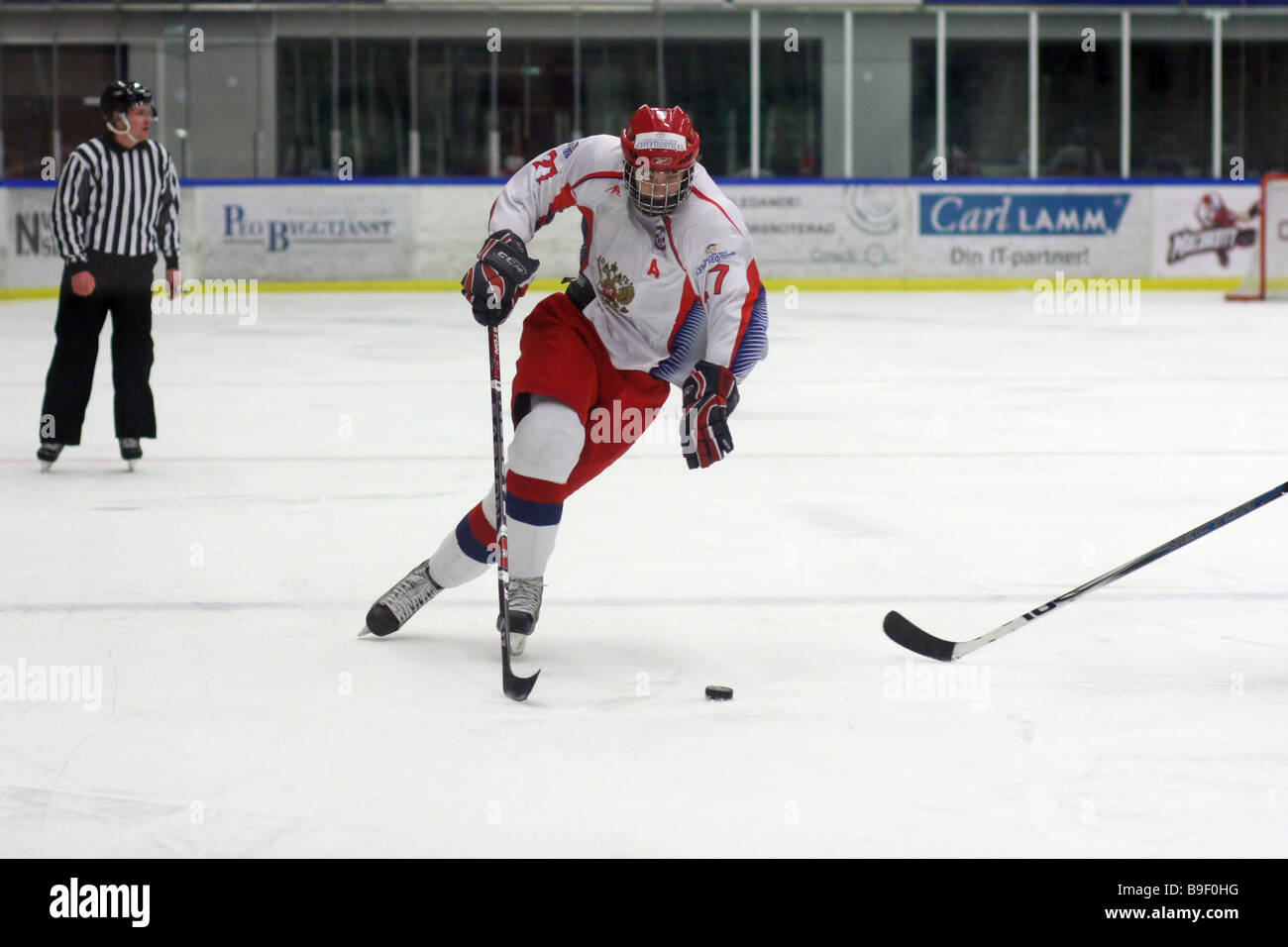 Russian ice-hockey player No 27 Stanislav Solovyev - Stock Image