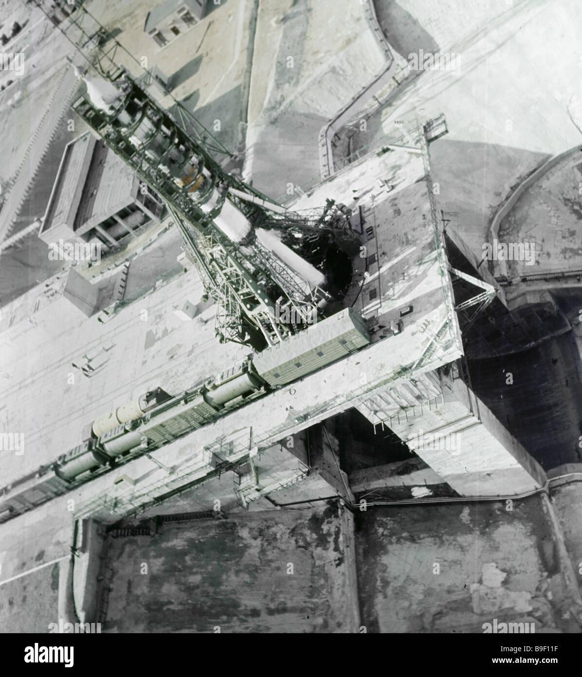 Launch site on the Baikonur cosmodrome - Stock Image