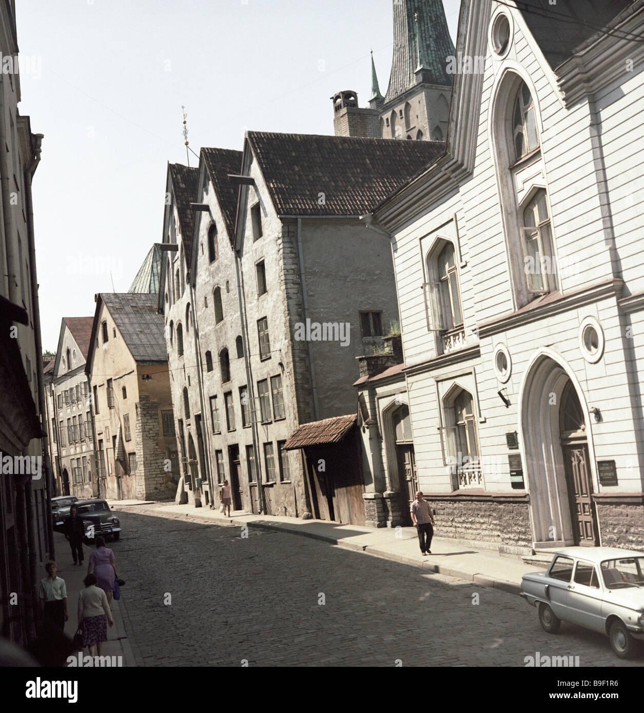 The Three Sisters buildings 15th century in Pikk Street Tallinn - Stock Image