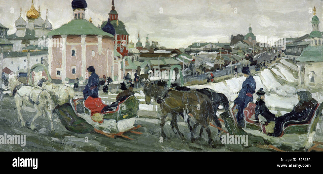 Konstantin Yuon Pilgrimage to the Holy Trinity Monastery State Tretyakov Gallery Moscow - Stock Image