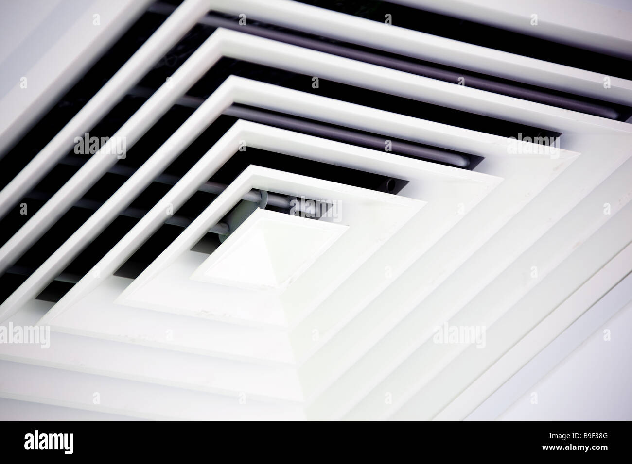 Air duct ventilation shaft on shop ceiling - Stock Image