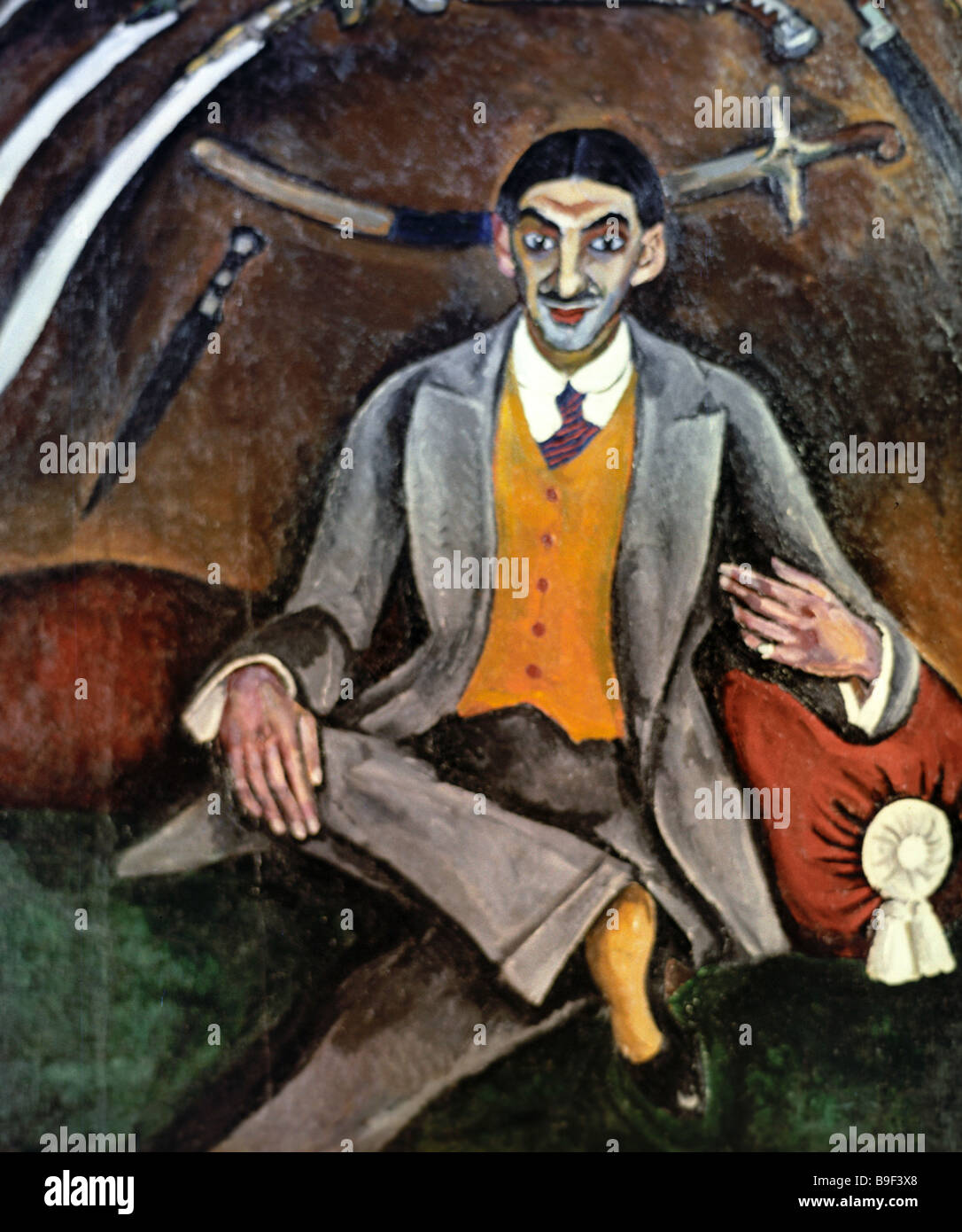 A reproduction of Pyotr Konchalovsky s portrait of G B Yakubov From the collection of the State Tretyakov Gallery - Stock Image