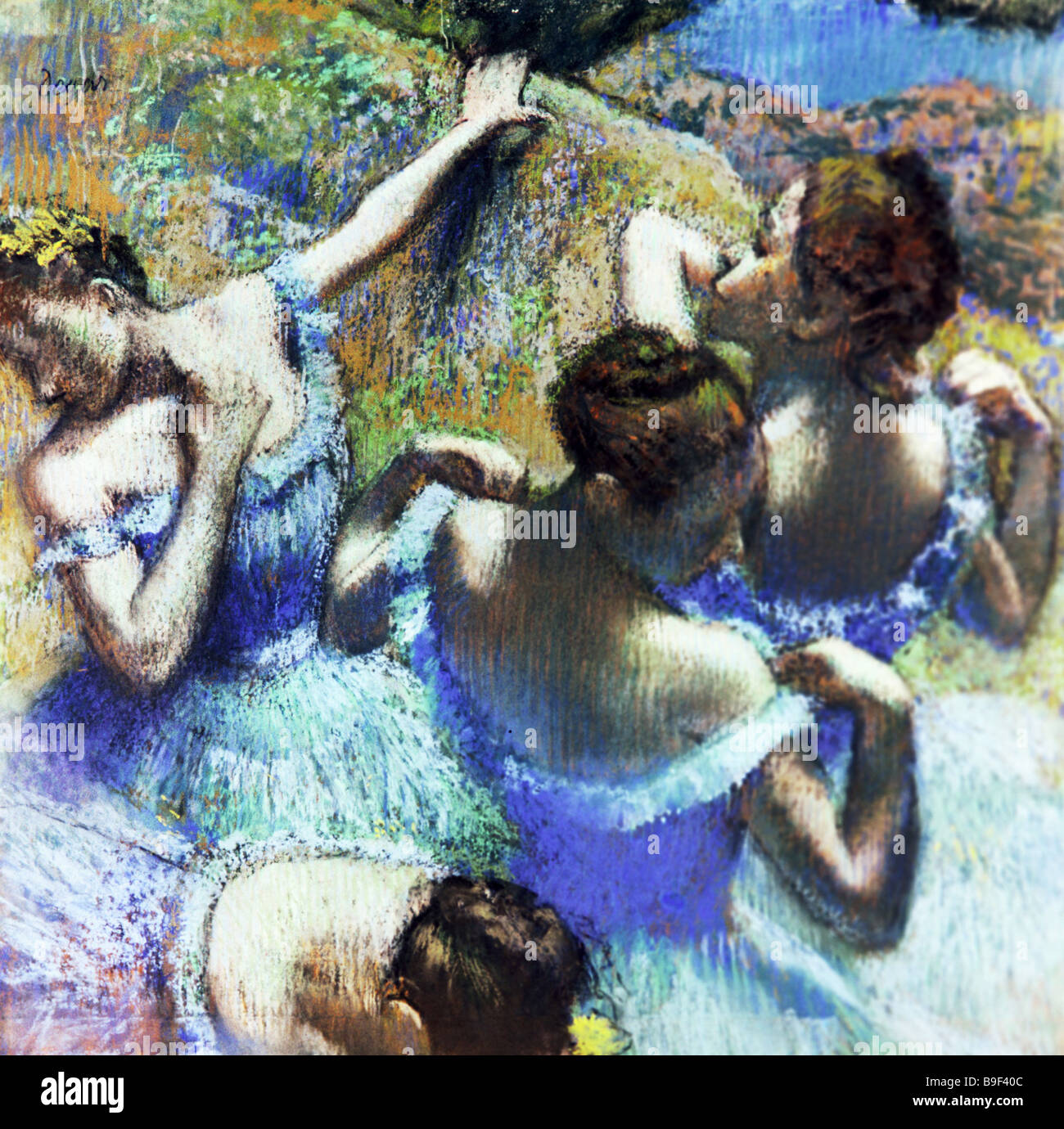 The painting Blue Dancers by Edgar Degas 1834 1917 the Alexander Pushkin Fine Arts Museum Stock Photo
