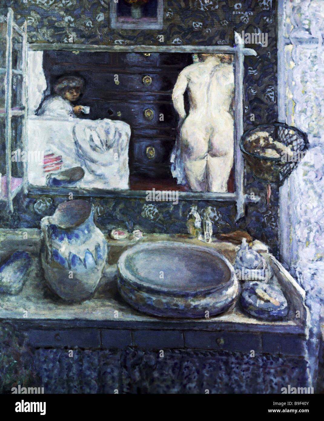 Reproduction of the painting The Mirror above the Sink by Pierre Bonnard 1867 1947 the Alexander Pushkin Fine Arts - Stock Image