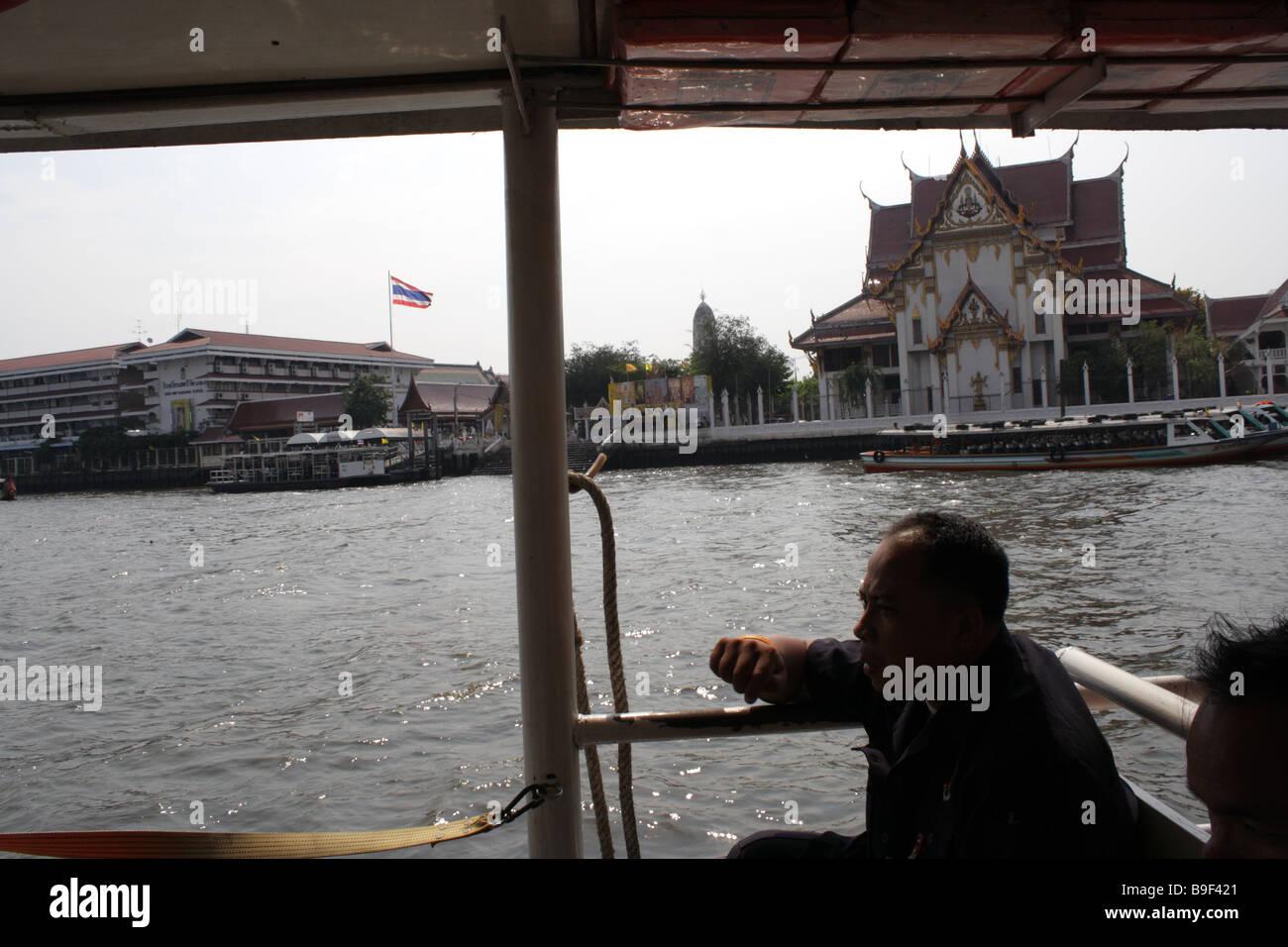 View form ferry boat , Chaopraya river , Bangkok , Thailand - Stock Image