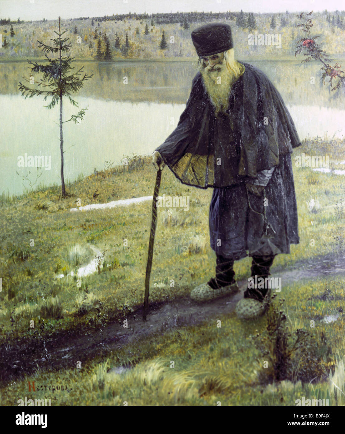 Reproduction of Mikhail Nesterov s painting The hermit from the collection of the Tretyakov Picture Gallery - Stock Image