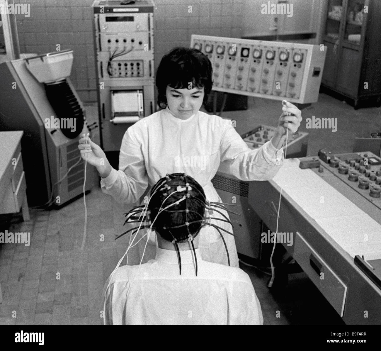 Measuring brain functions an electroencephalogram neurosurgery department Sklifosovsky First Aid Research Institute - Stock Image