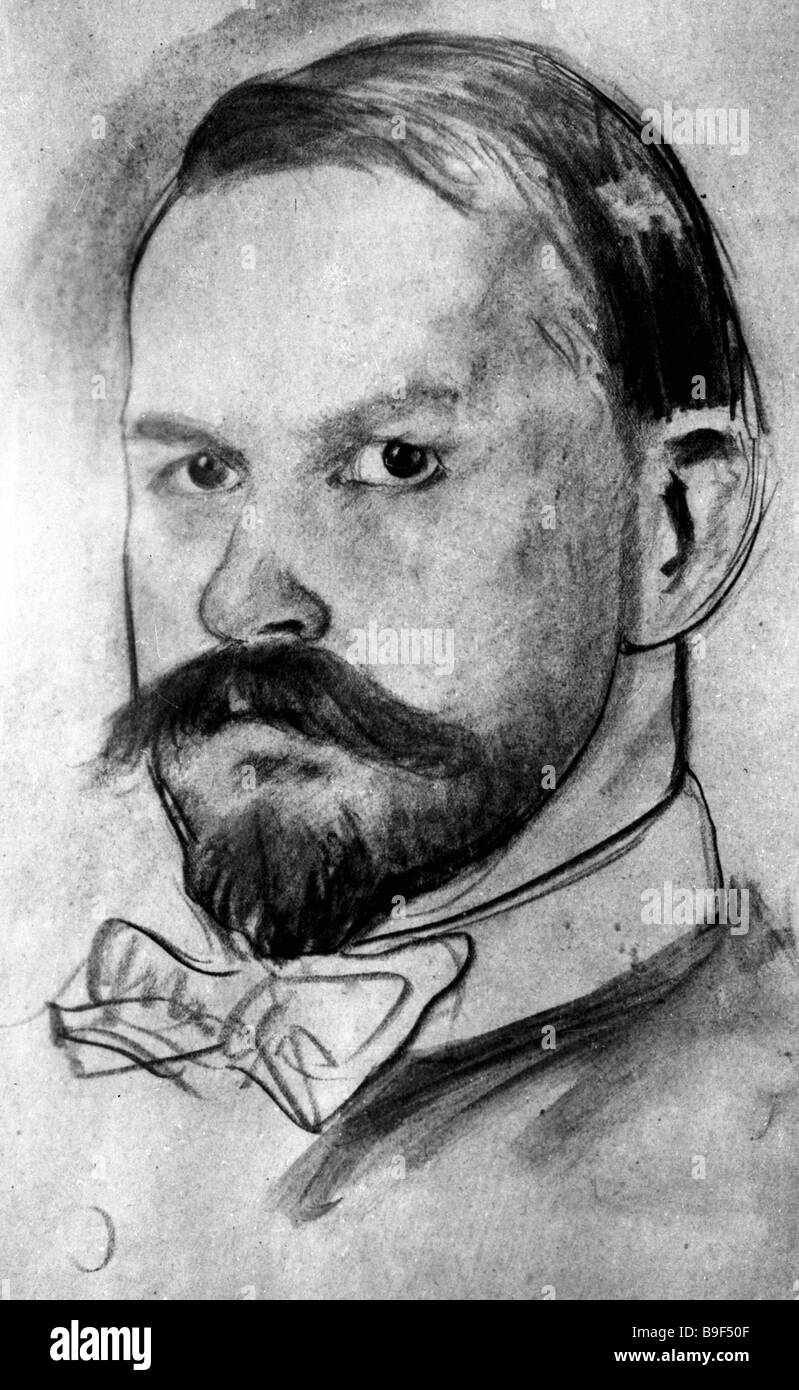 Boris Kustodiev Self Portrait - Stock Image