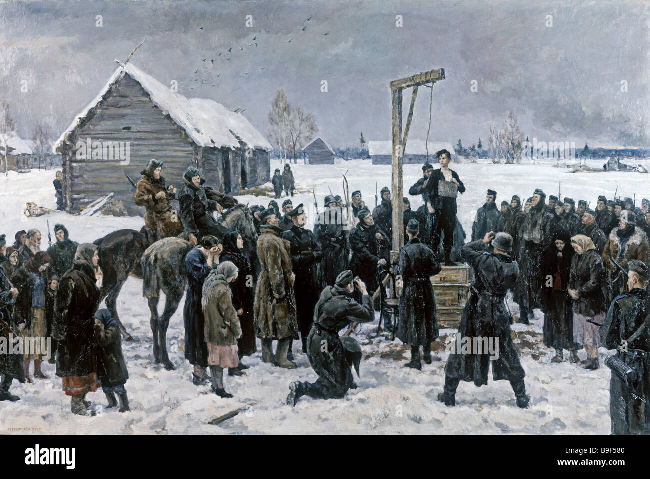 Kuryniksy artists Tanya 1942 1947 Canvas Oil State Tretyakov Picture Gallery in Moscow - Stock Image