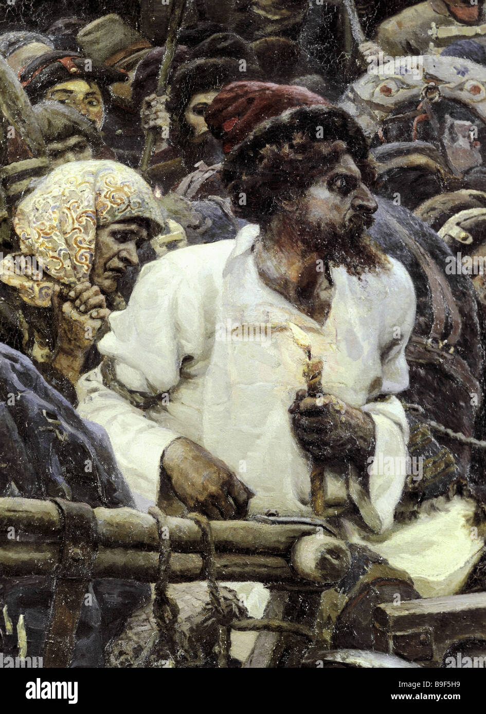 Reproduction of the sketch The red bearded Strelets for Vassily Surikov s painting Morning of Strelets Execution - Stock Image