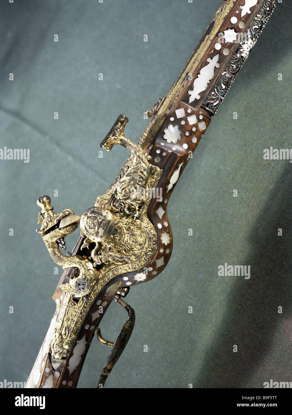 Carbine 17th century Detail Armory Chamber Kremlin - Stock Image