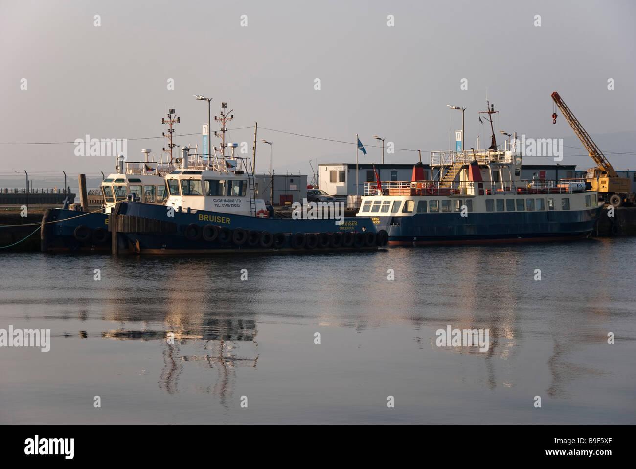Merchant Vessels Bruiser Cruiser & Battler Greenock Stock Photo