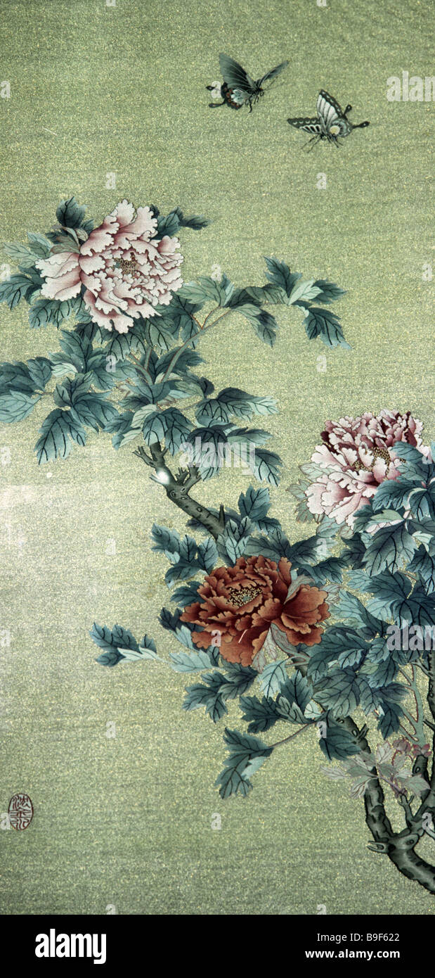 Hand woven kesa panel Peonies 19th century China from the collection of the Oriental Art Museum - Stock Image