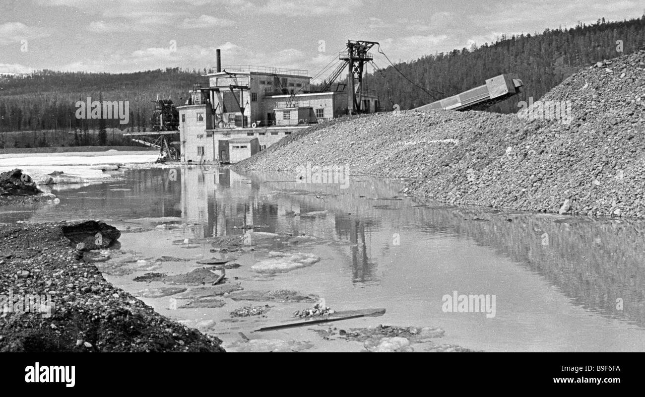A 250 liter gold dredge 76 the Aldanzoloto plant - Stock Image