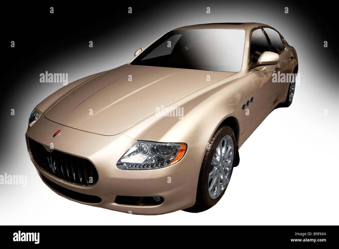 Stock Photo of a silver Maserati Quattroporte - Stock Image