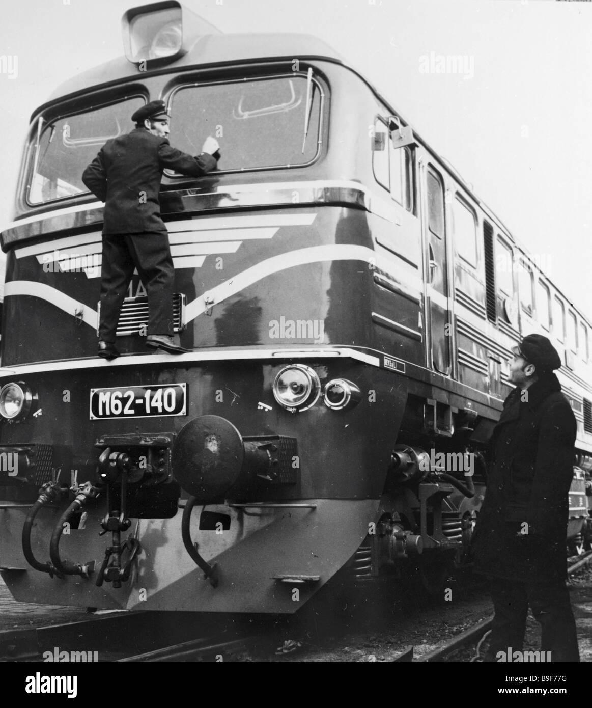 Soviet diesel locomotive - Stock Image