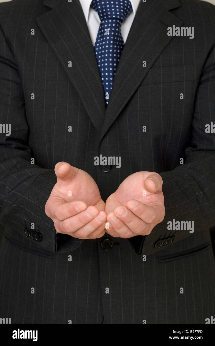 Businessman asking for support - Stock Image