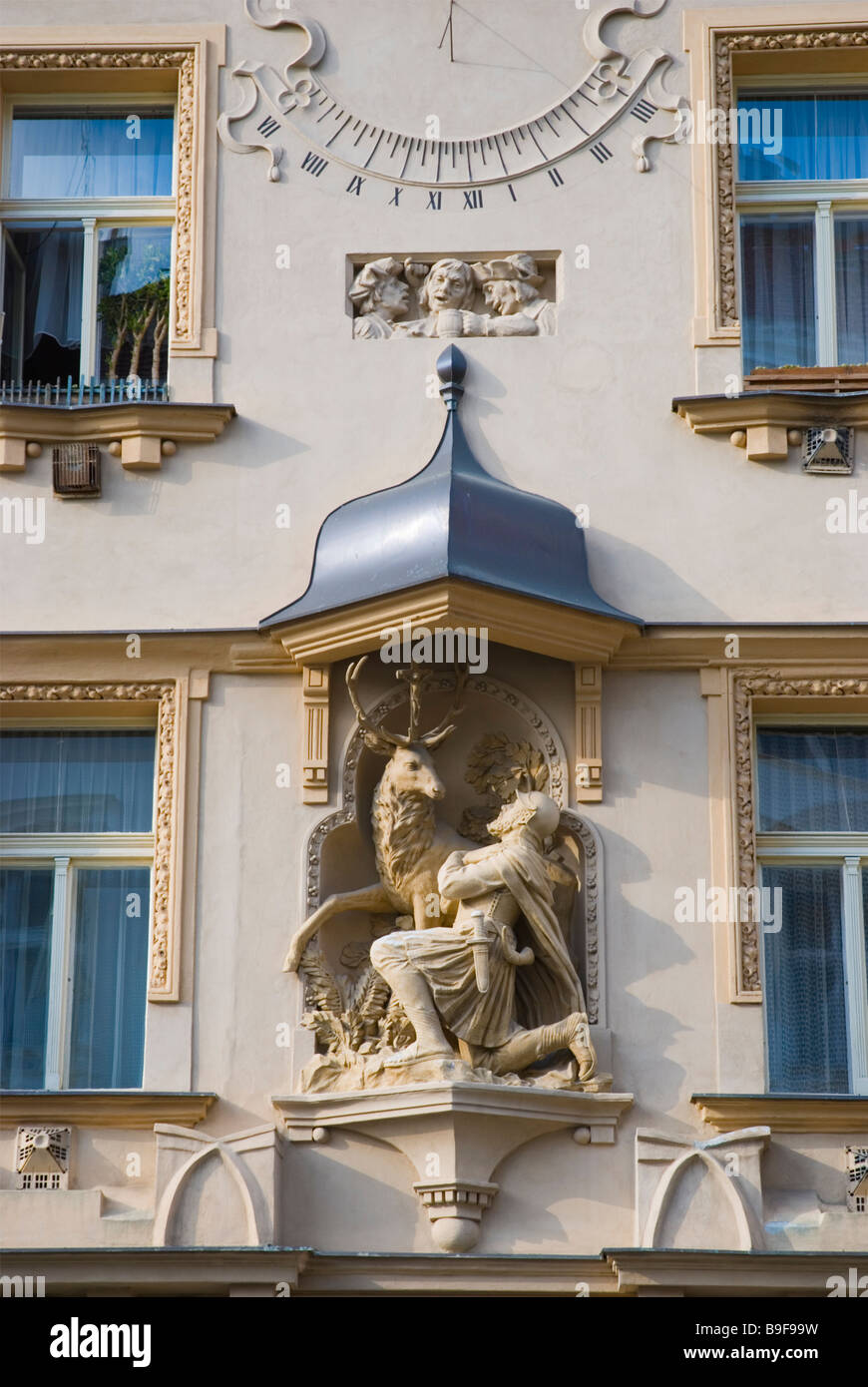 Heraldic house sign on a side of a building in Zizkov district in Prague Czech Republic Europe - Stock Image