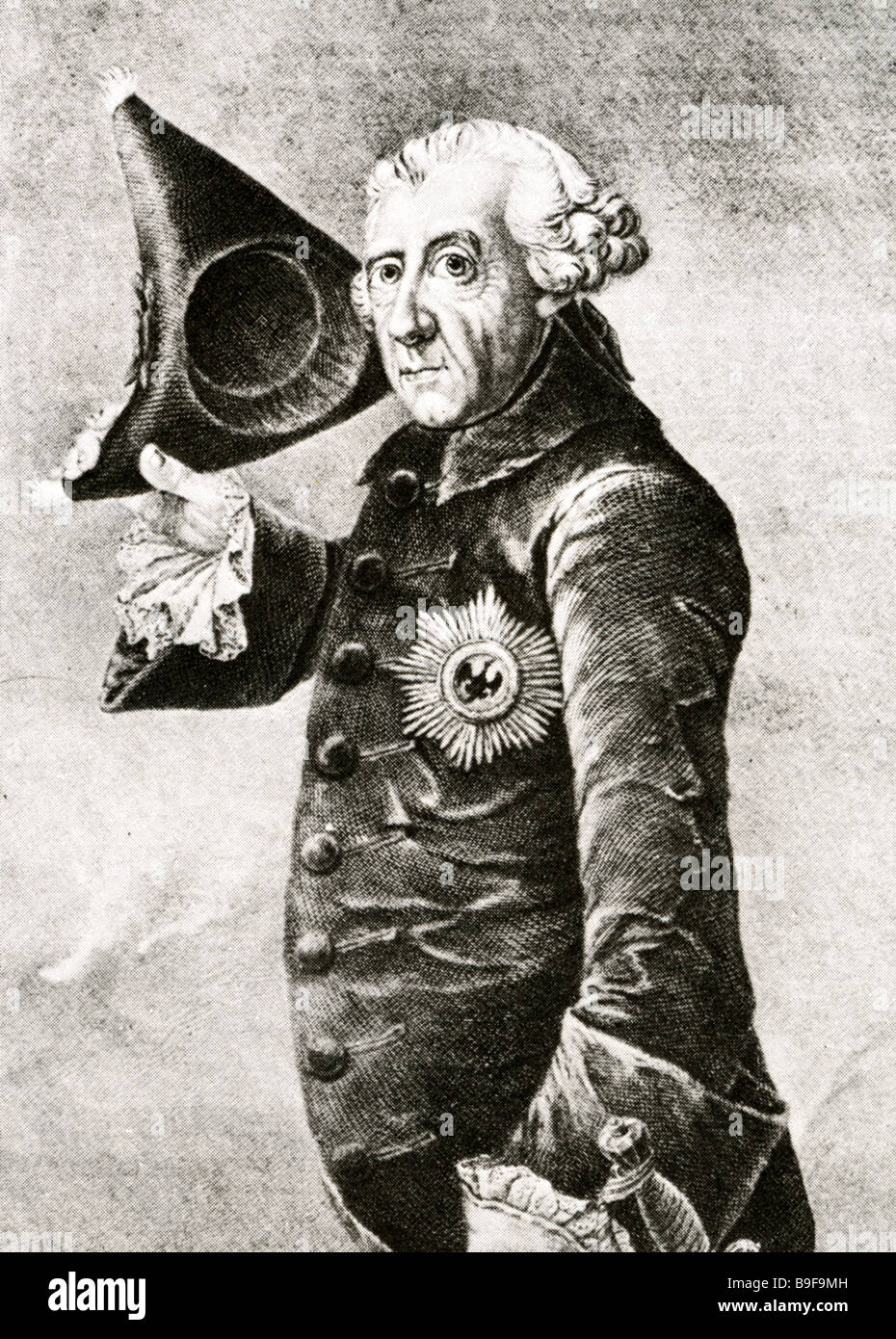FREDERICK II known as FREDERICK THE GREAT King of Prussia 1712 to 1786 - Stock Image