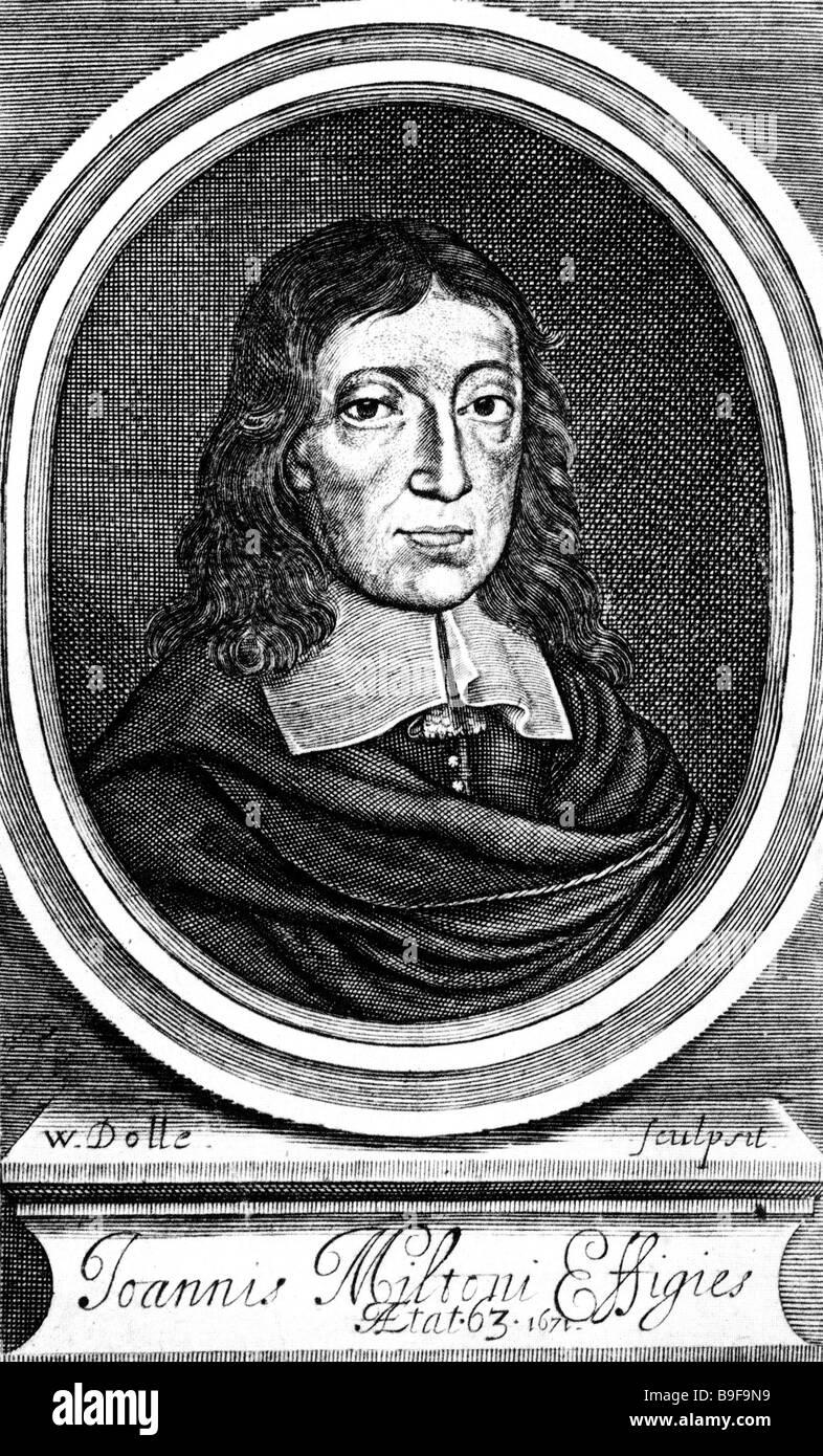 JOHN MILTON English poet 1608 to 1674 - Stock Image