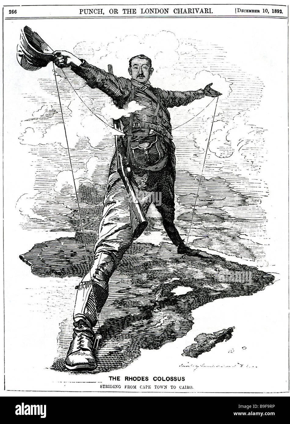 CECIL RHODES Punch cartoon illustrating Rhodes ambitions for a trans-African railway - Stock Image