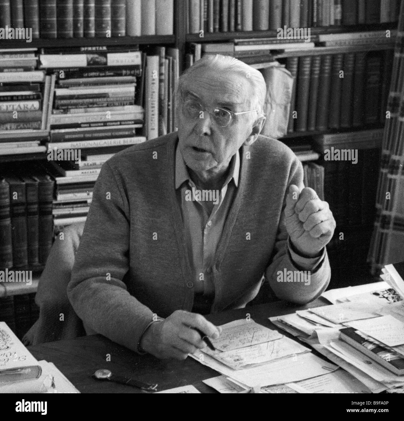Writer Konstantin Fedin in his study - Stock Image