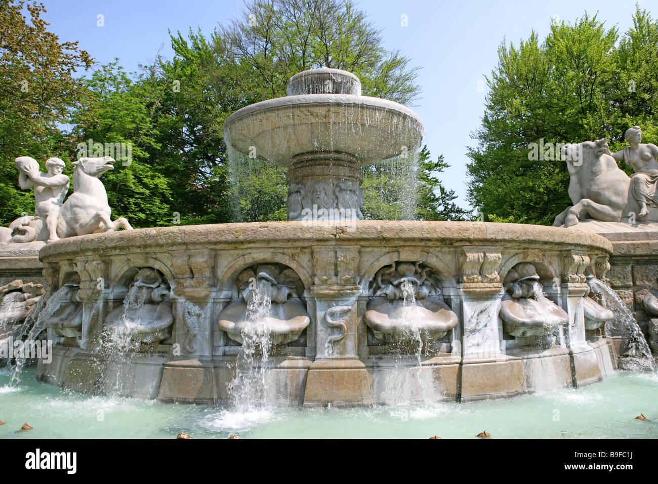 Germany Bavaria Munich Wittelsbacher Brunnen  Adolf of hildebrandt Bavaria sculpture sculptor-art wells well-installation Stock Photo