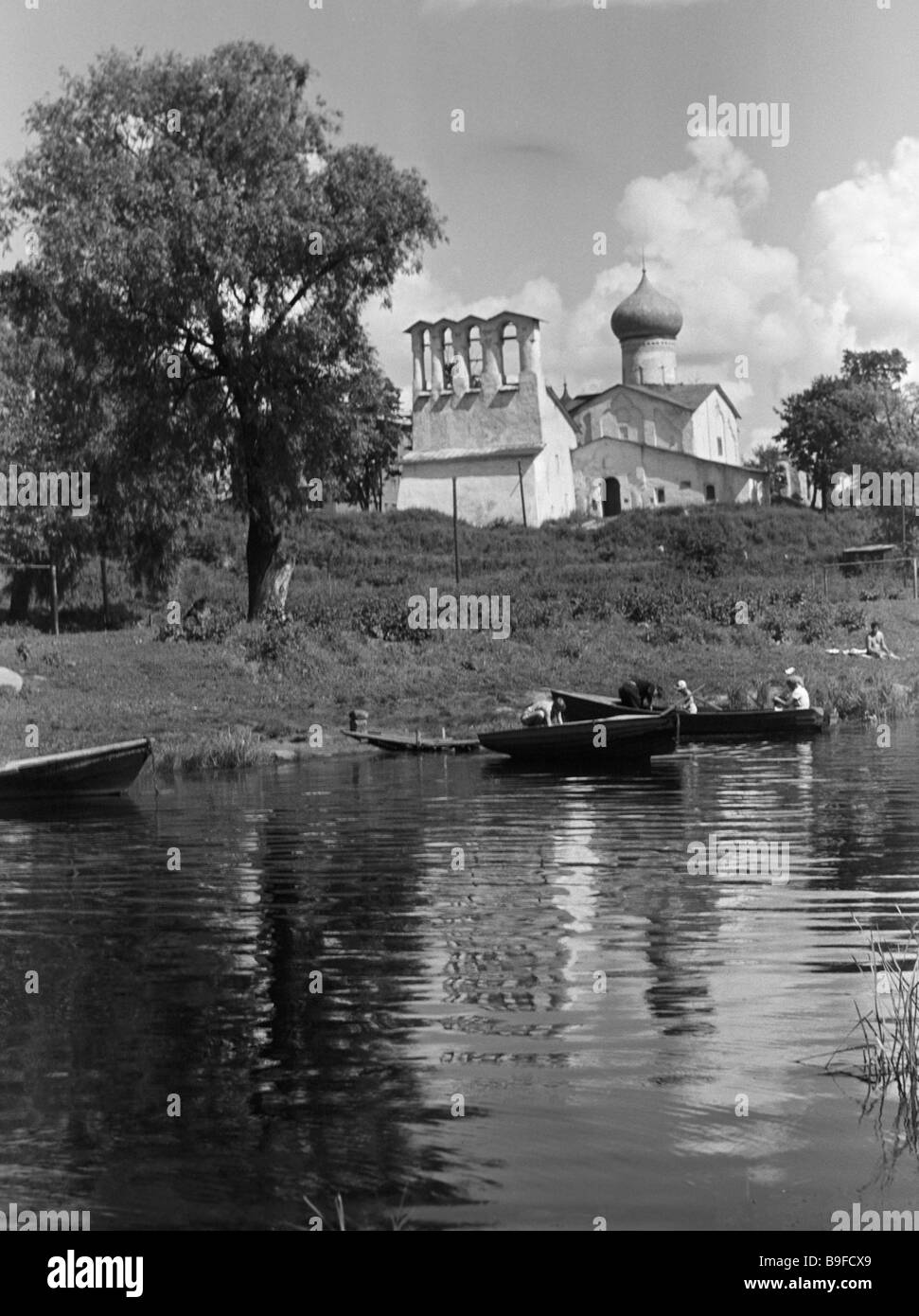 The fifteenth century Epiphany from beyond Pskov church in the city of Pskov - Stock Image