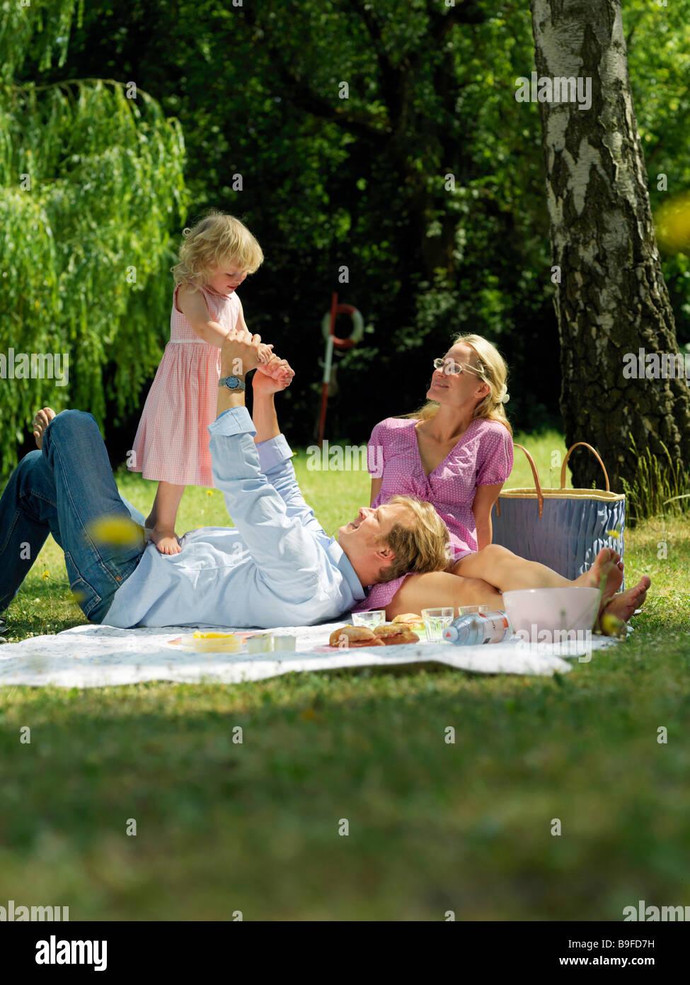 family doing picnic full shot Stock Photo
