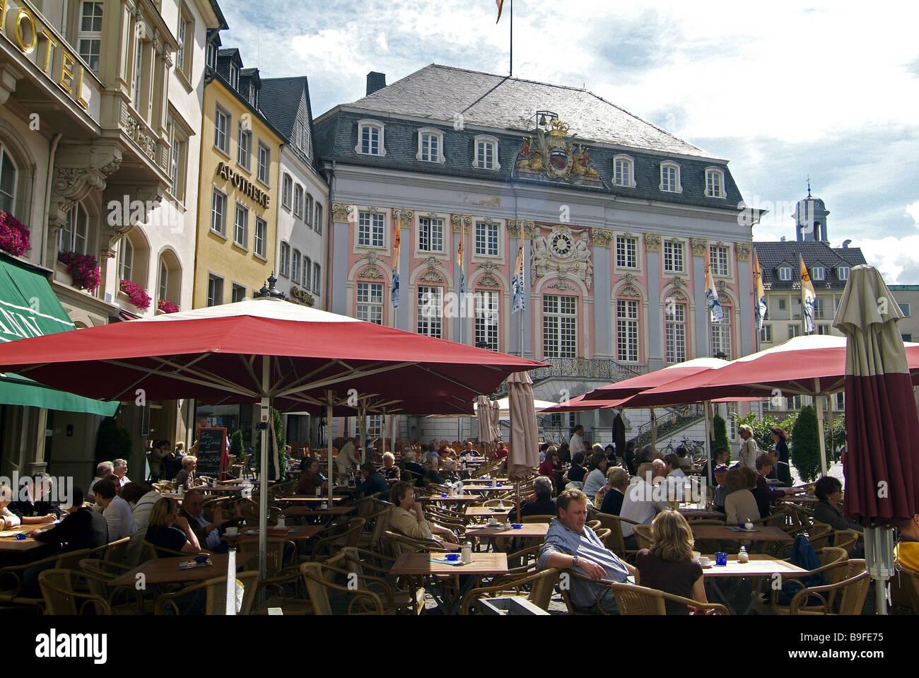 Germany Bonn town hall market place pub outside - Stock Image