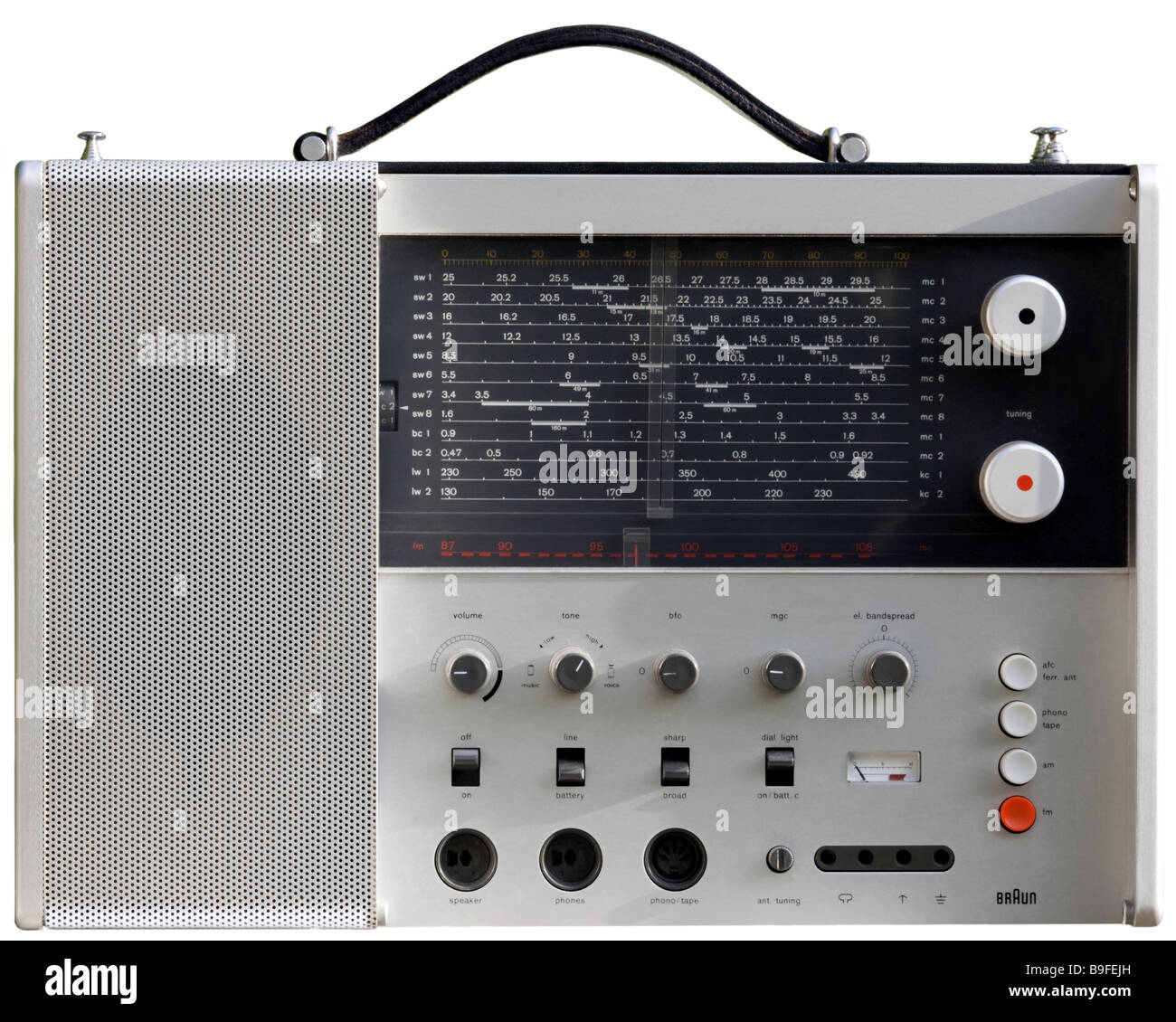 COMMUNICATIONS:  Braun Station T1000 CD World Receiver designed by Dieter Rams (1965) - Stock Image