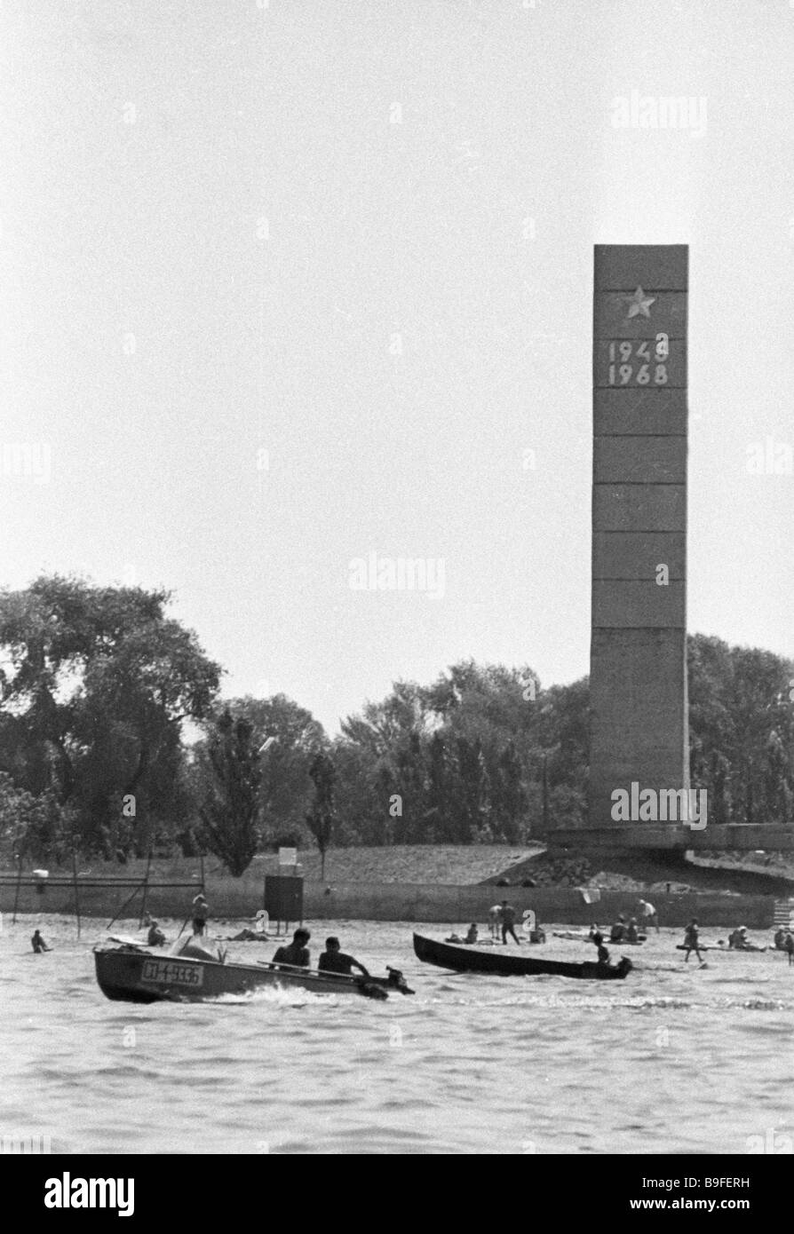 Obelisk in honor of Soviet soldiers who crossed the Dnieper River in 1943 during the Great Patriotic War - Stock Image