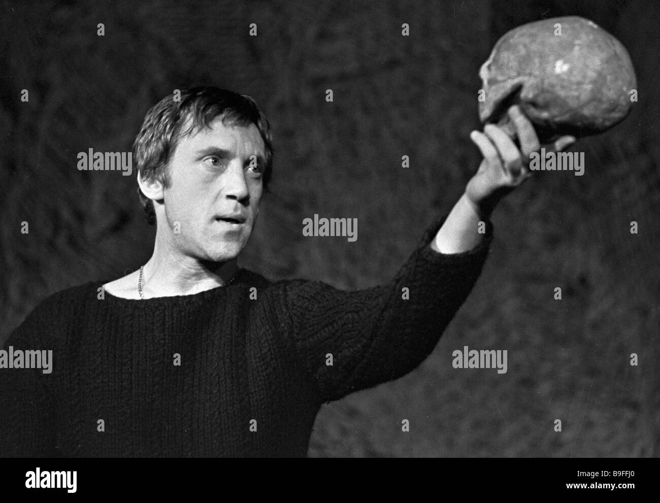 Actor Vladimir Vysotsky as Hamlet in theatrical staging of William Shakespeare s tragedy Hamlet - Stock Image