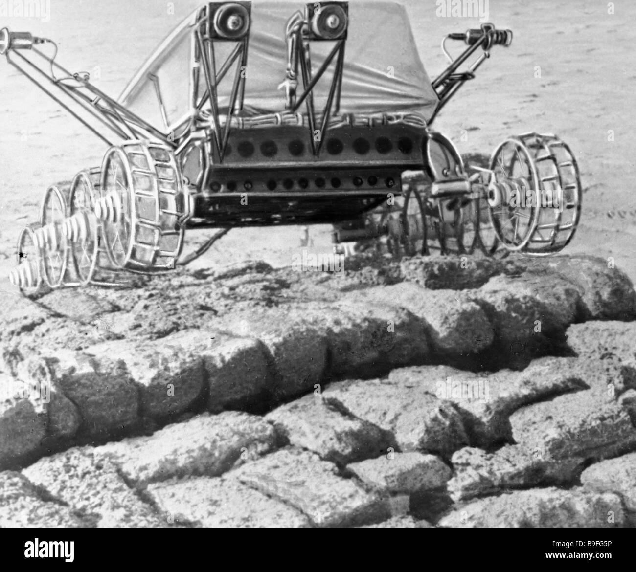 Testing the undercarriage of the lunar rover - Stock Image