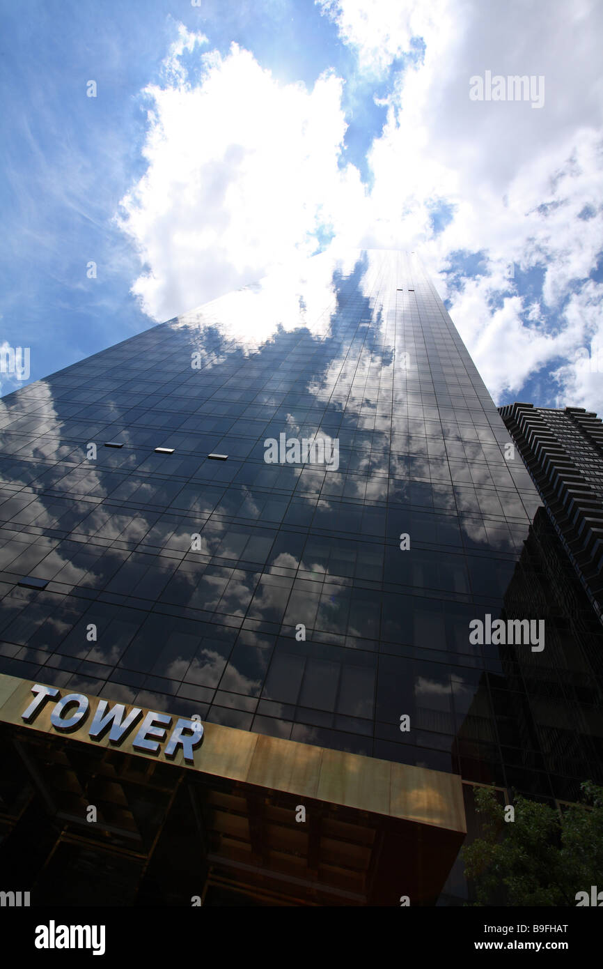 Trump towers in New York blending into the summer sky - Stock Image