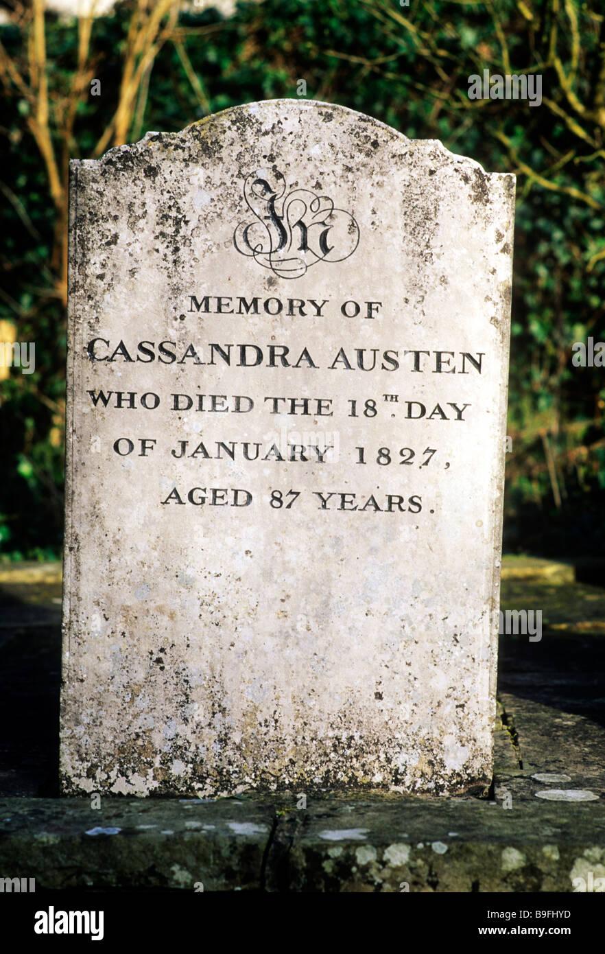 Chawton churchyard Hampshire England UK Gravestone to Cassandra Austen 1827 mother of Jane Austen English novelist - Stock Image