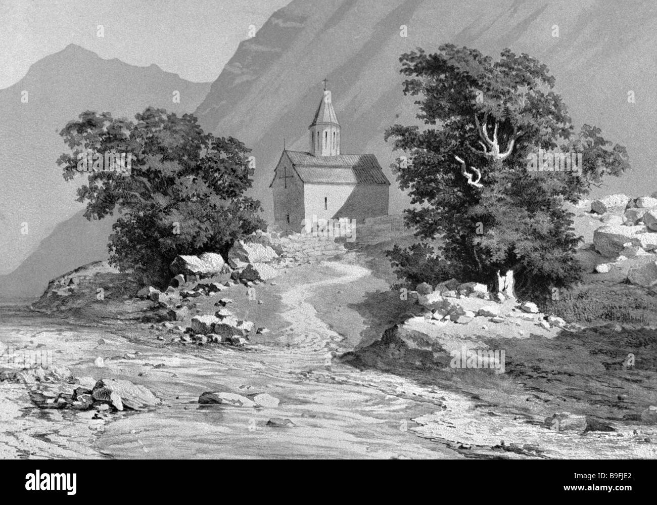 Reproduction of tinted lithograph Church at the Road Near a Mountain River by an unknown artist from collection - Stock Image