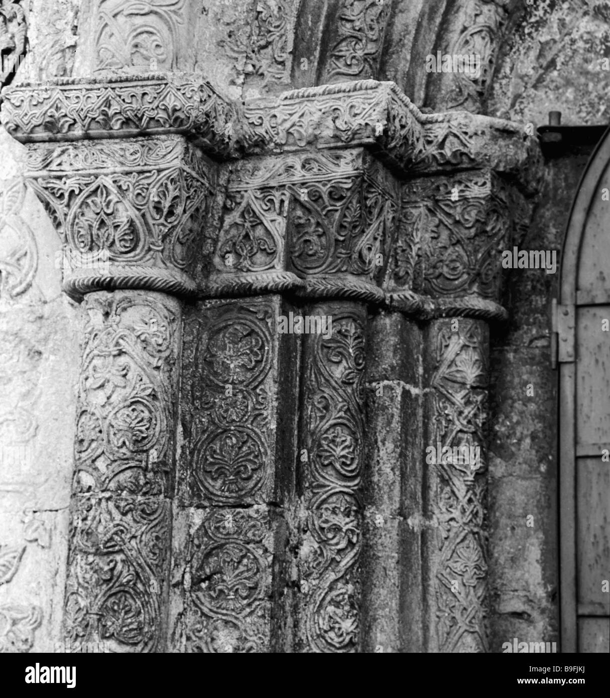 Left section of portal of facade of St George Cathedral in Yuriev Podolsky - Stock Image