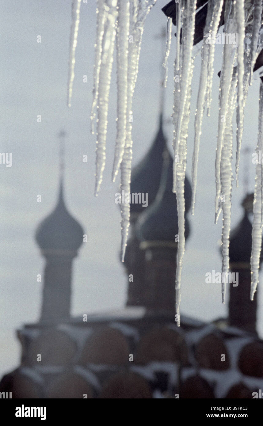 Icicles on the background of cathedral cupolas - Stock Image
