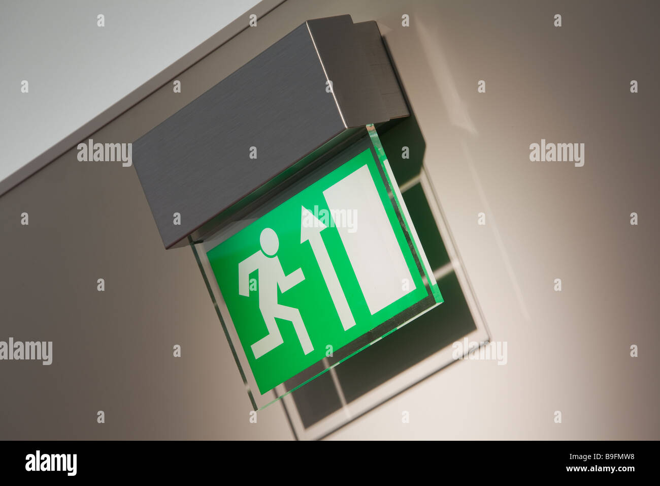 Exit sign for a retail premises Stock Photo