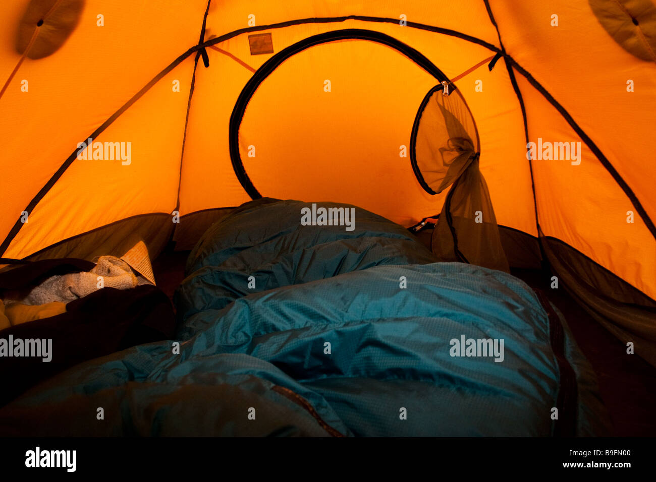 Inside of a tent with sleeping bag Stock Photo: 23088016 - Alamy