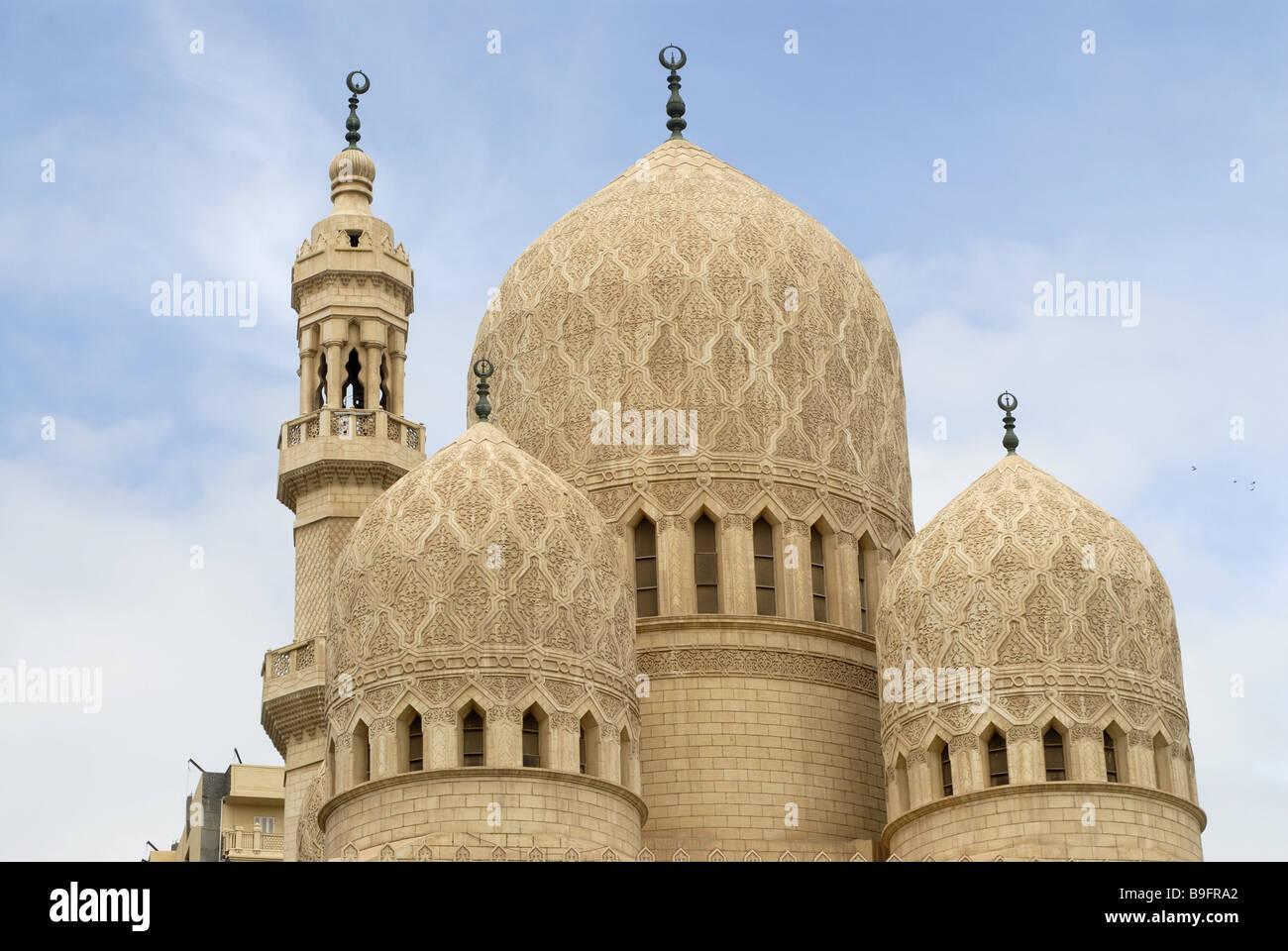 Mosque Detail: Egypt Alexandria Abu-el-Abbas-el-Mursi-mosque Detail Domes