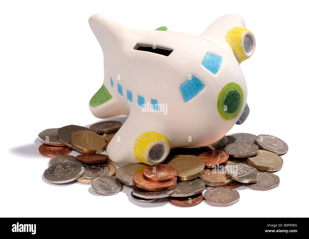 Aeroplane piggy bank - Stock Image
