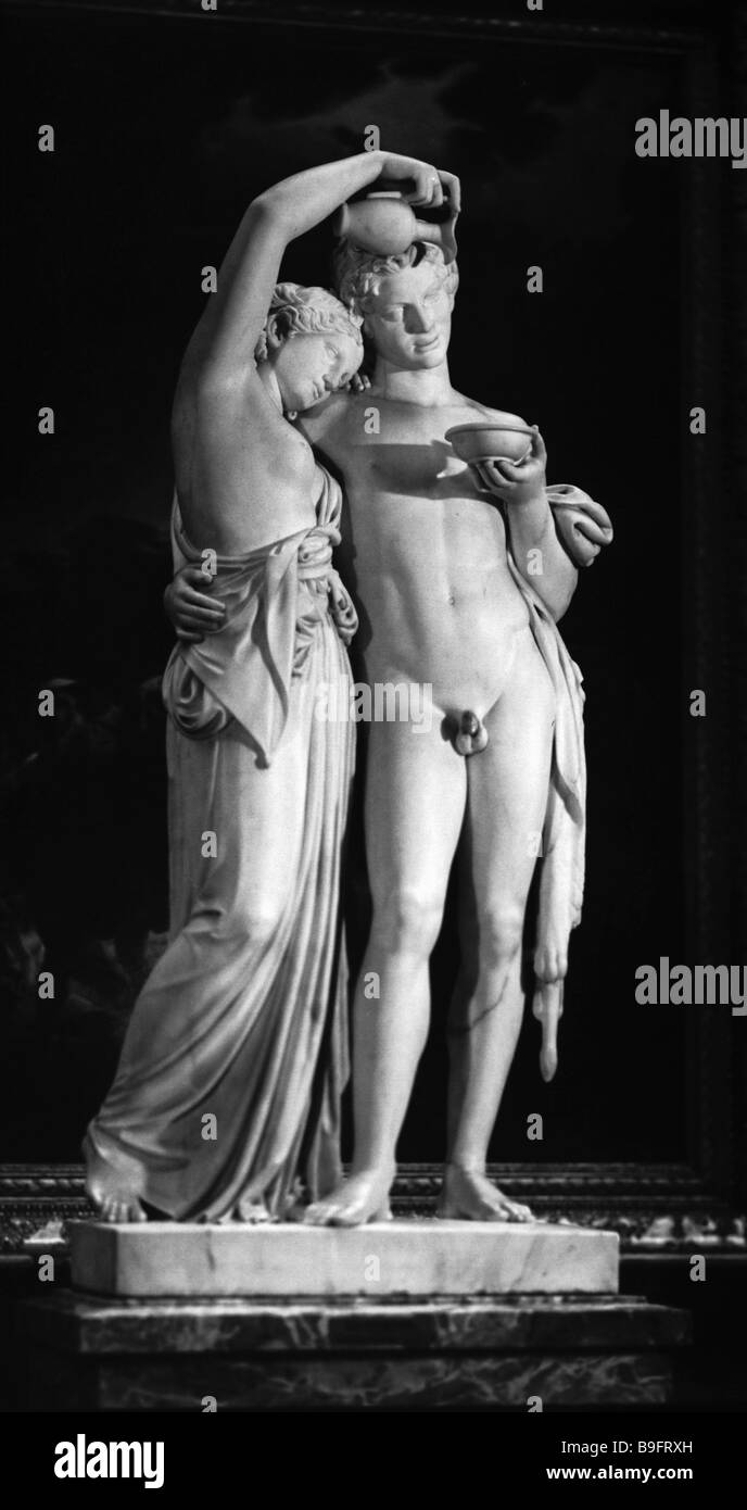 The sculpture Satyr and Bacchante by Boris Orlovsky From the collection of the Russian Museum - Stock Image