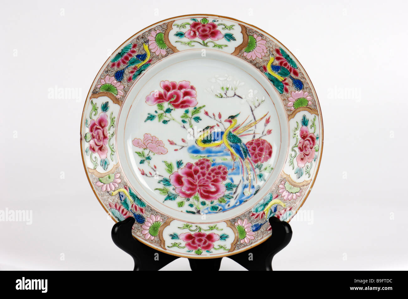 A hand painted antique Chinese porcelain plate decorated with birds in bright enamels circa 1760. & A hand painted antique Chinese porcelain plate decorated with birds ...