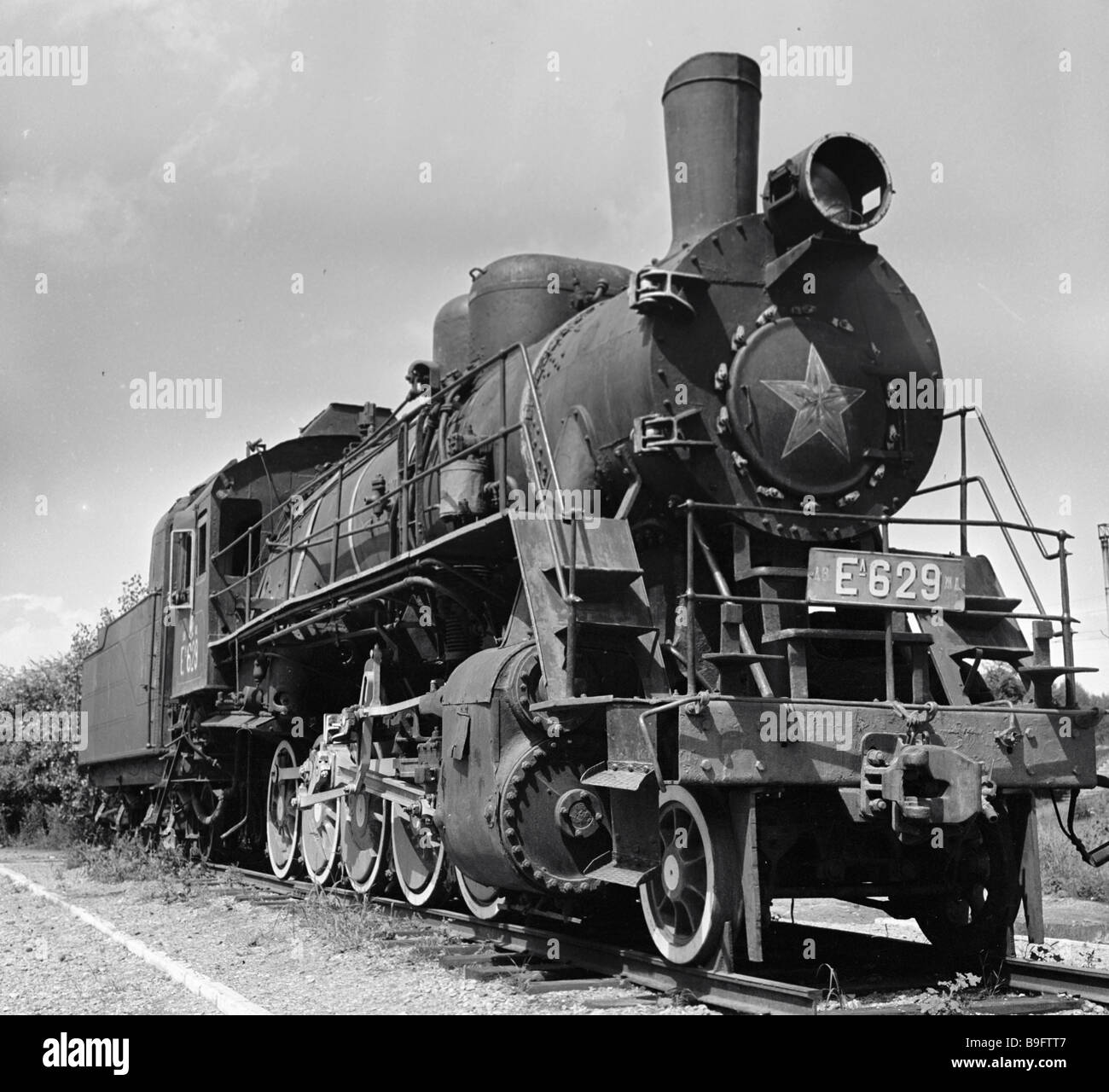 The steam locomotive in whose fire box Japanese interventionists burned Sergei Lazo a Far Eastern hero partisan - Stock Image